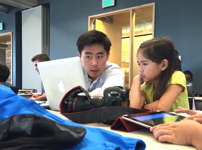 A Seattle CoderDojo volunteer who happened to be a math teacher helped Meilee with some geometry.